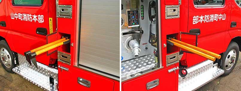 車体の左右どちらかでも鳶を取り出すことができる鳶受け装置。