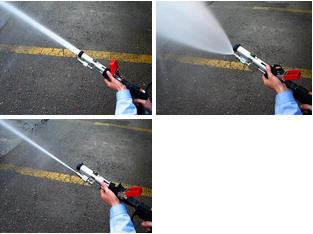 高圧噴霧GUN ストレートから広角まで無段階に調整可能です。